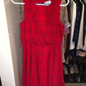 Elle size 10 red plaid dress